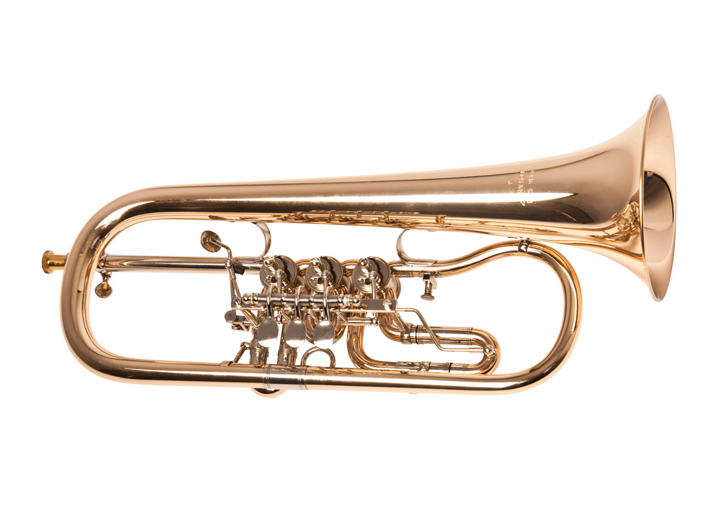 Bugel Miraphone model 25, 3 cilinders, goudmessing, lak, zonder koffer