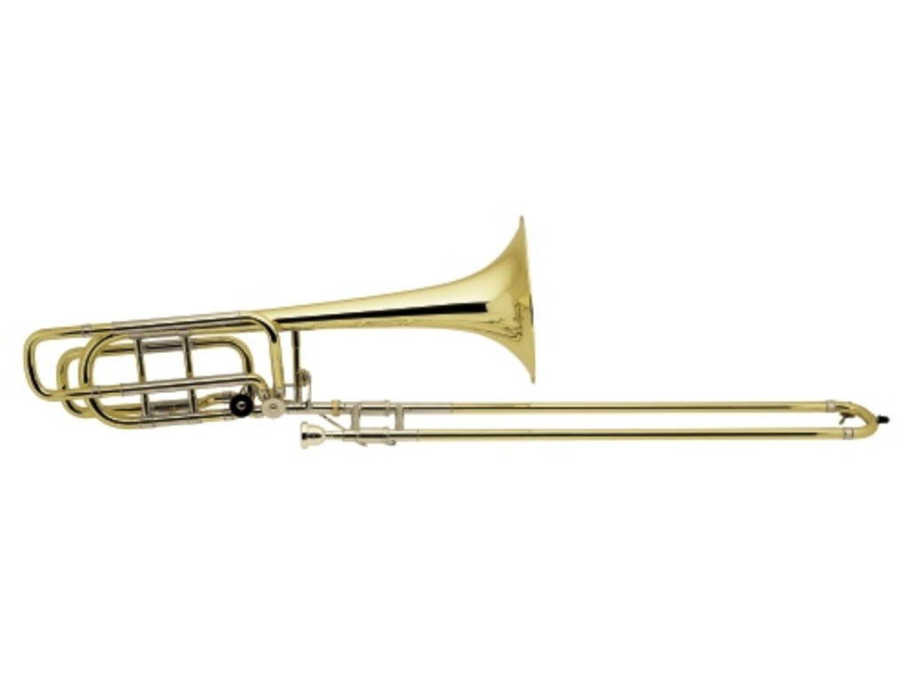 "Trombone (Bas) Vincent Bach 50B3OG, kwart- and kwintventiel, 9,5"" Goldbrass Bell, open wrap, Laquered"