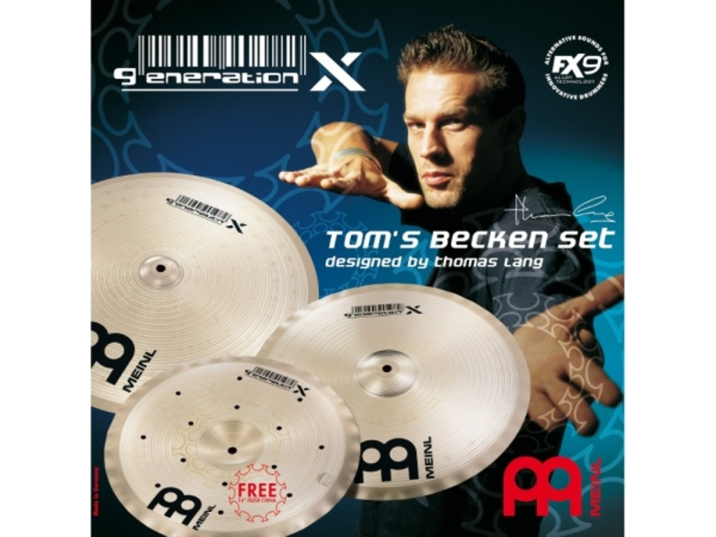 "Cymbal Set Meinl GX-TB14/16/18, Generation X Serie, Thomas Lang, 14"" Filter China - 16"" Synthetik Crash 18"" - Crash Ride"
