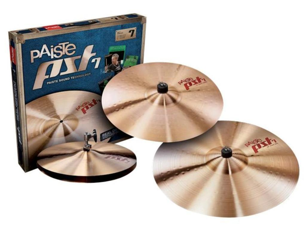 "Cymbal Set Compleet Paiste PST7, Session Set, Light, 14"" Hi-hat - 16"" Crash - 20"" Ride"