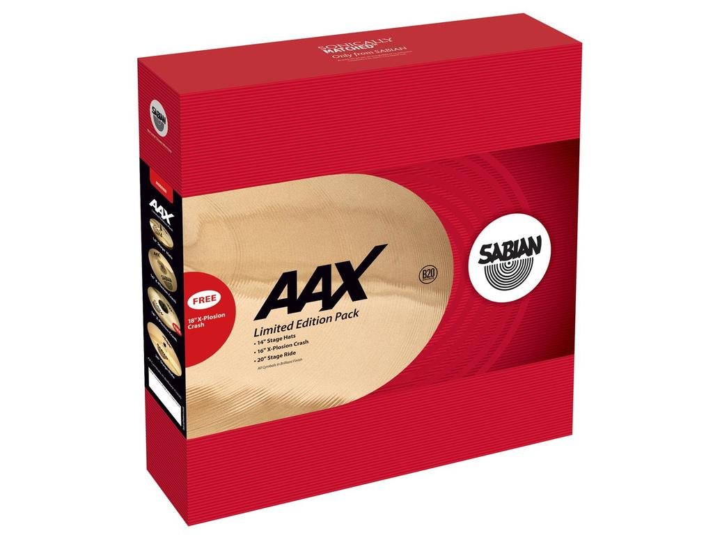 "Cymbal Set Compleet Sabian 25005XXP, AAX Serie, Performance Set, 14"" Hi-hat - 16"" Crash - 20"" Ride + 18"" FREE"