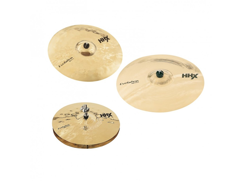 "Cymbal Set Compleet Sabian 15005XEB, HHX Serie, Evolution Performance Set, 14"" Hi-hat - 16"" Crash - 20"" Ride"