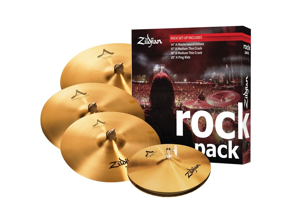 "Cymbal Set Compleet Zildjian A0801R, A zildjian, Rock Pack, 14"" Mastersound Hi-hat - 17"" en 19"" Thin Crash - 21"" Ping Ride"