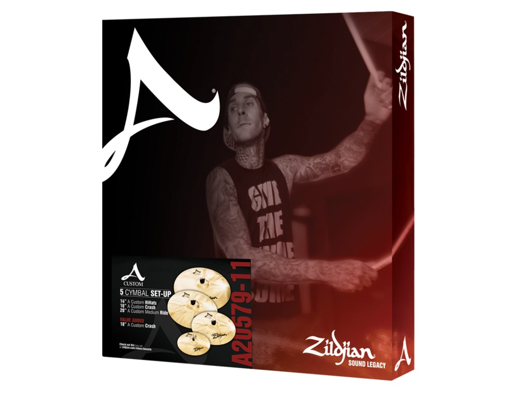 "Cymbal Set Compleet Zildjian A205, A Custom, 14"" Hi-hat - 16""Crash -20"" Ride - 18"" Crash"