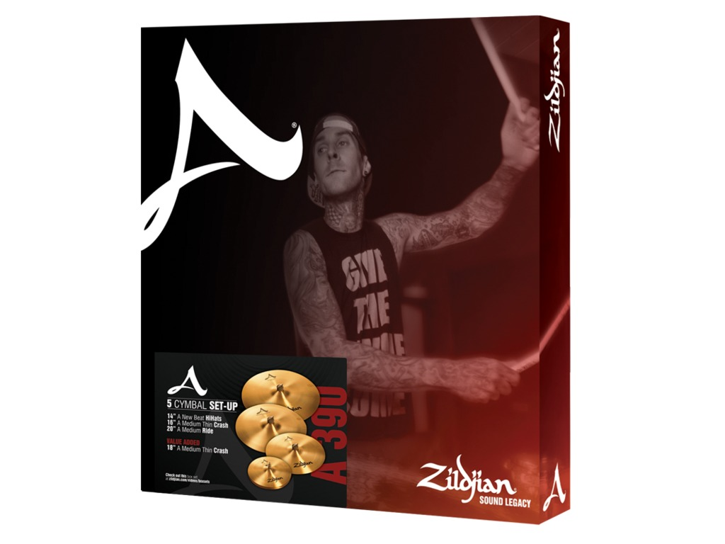 "Cymbal Set Compleet Zildjian A390, A Zildjian, 14"" Hi-hat - 16""Crash -20"" Ride - 18"" Crash"