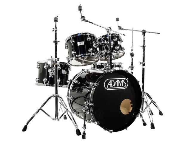 "Drumstel Adams 6000 Essential 22"" Fusion set plywood/berken Chrome hardware, 22"", 10"", 12"", 14"", 14"", Piano Black"