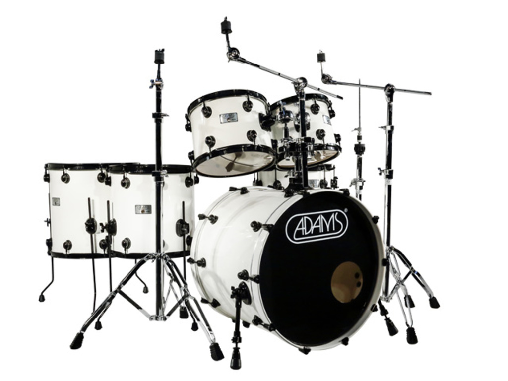 "Drumstel Adams 6000 Essential 22"" Rock set plywood/berken Black hardware  White Gloss"