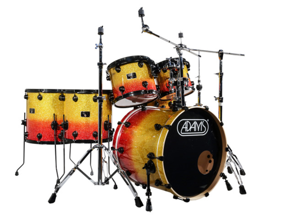"Drumstel Adams 7000 Vital 22 Rock, 22"", 10"", 12"", 14"", 16"", 14"", Zwart Hardware, Yellow to Red sparkle fade"
