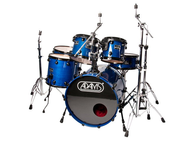 "Drumstel Adams 7000 Vital 22 Rock, 22"", 10"", 12"", 14"", 16"", 14"", Zwart Hardware, Dark Blue"