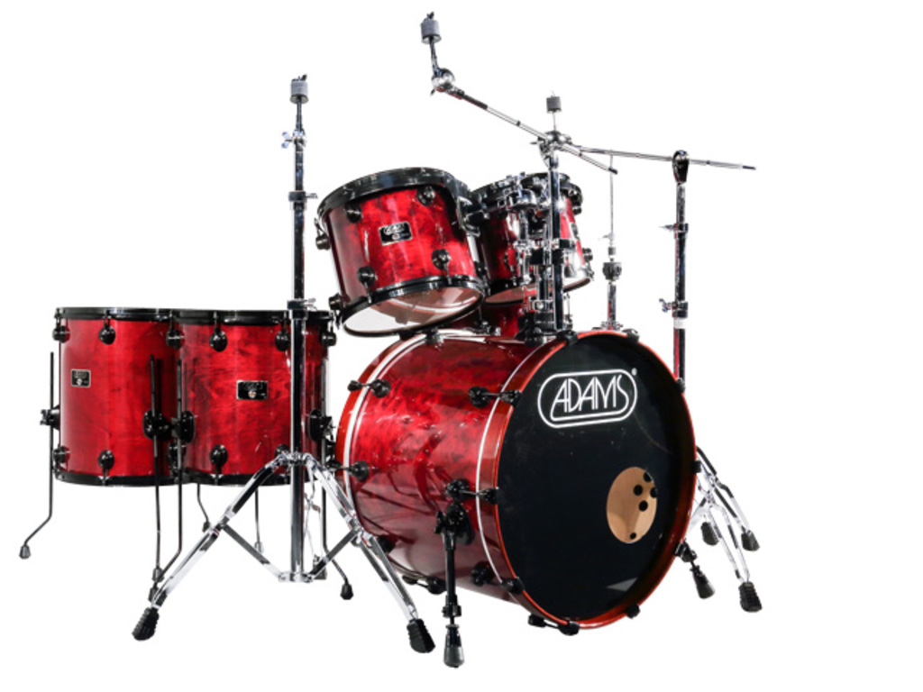 Drumstel Adams 7000 Vital 22 Rock set Berken Hout Black Hardware incl Rims Dark red