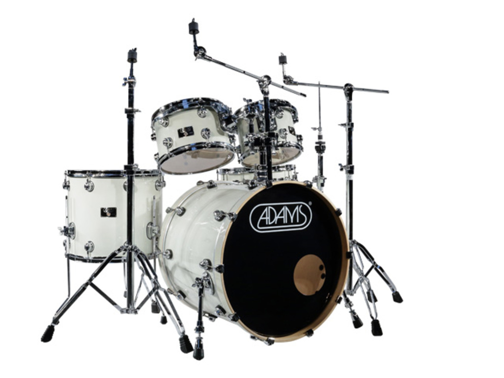 Drumstel Adams 7000 Vital 20 Studio set Berken Hout Chrome Hardware incl Rims White Sparkle