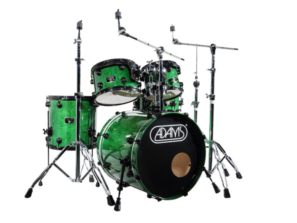 Drumstel Adams 7000 Vital 22 Studio set Berken Hout Black Hardware incl Rims Dark Green