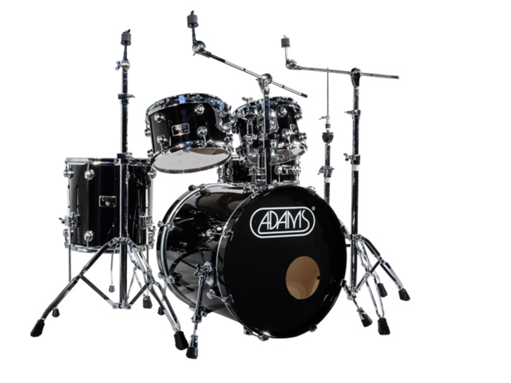 Drumstel Adams 7000 Vital 22 Studio set Berken Hout Chrome Hardware incl Rims Piano Black