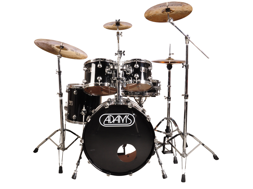 "Drumstel Adams model 7000 5-delige22"", 10"", 12"", 14"", 14"", fusion set inclusief hardware, Piano Black"