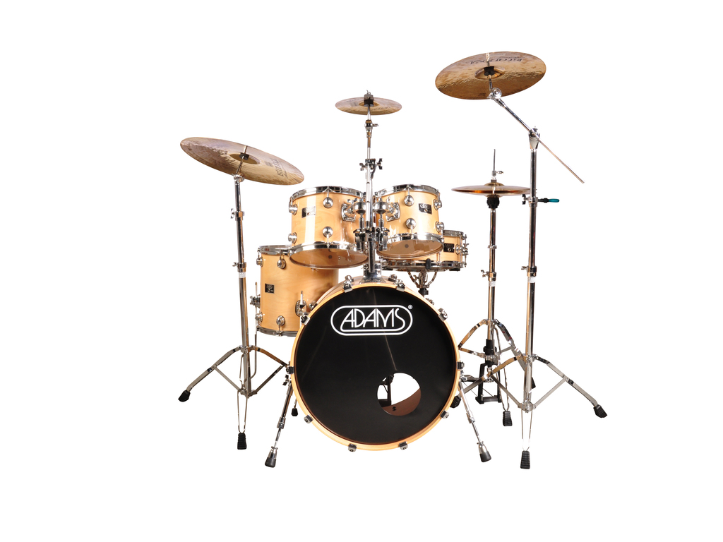 "Drumstel Adams model 7000 5-delige 22"", 10"", 12"", 14"", 14"", fusion set inclusief hardware, Naturel"