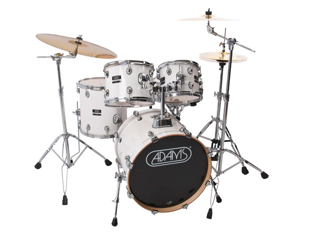 "Drumset Adams 5000 EX-WG2, Expert Studio, White Gloss, 22"", 10"", 12"", 16"", 14"", including Stool"
