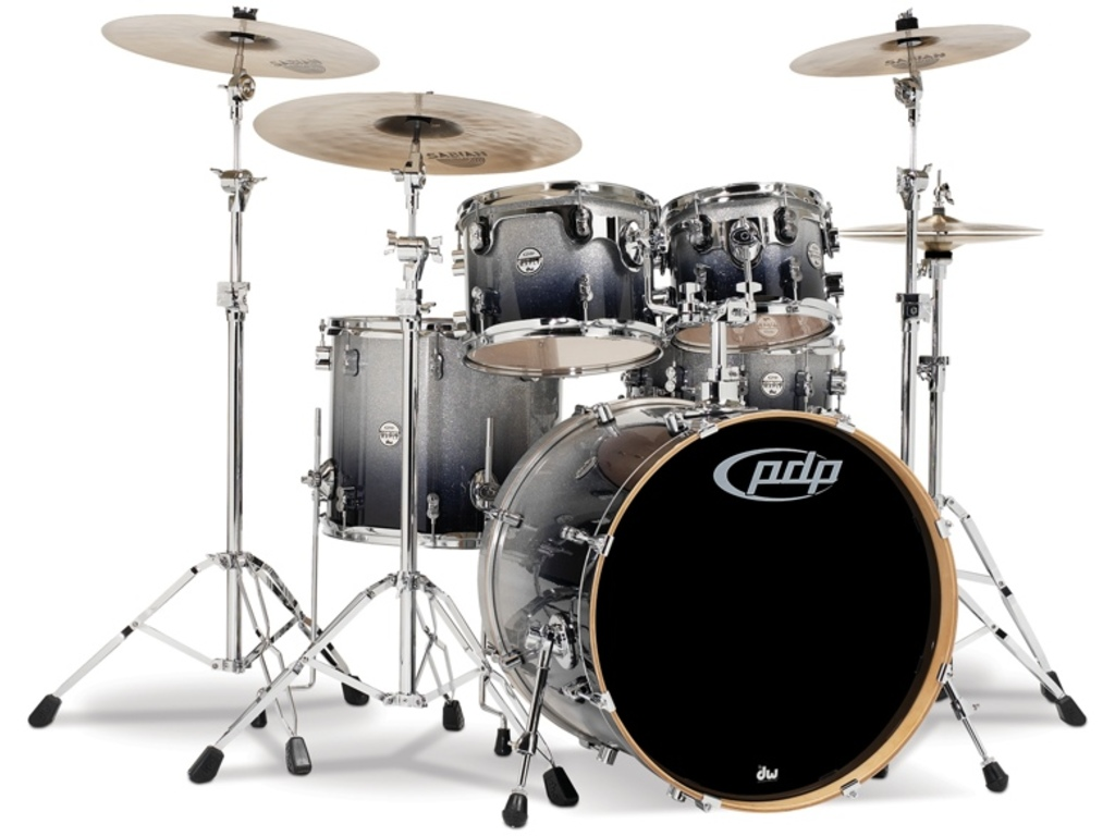 "Drumstel PDP Concept Maple CM5 20"" Silver to Black Sparkle Fade, 20"", 10"", 12"", 14"", 14"""