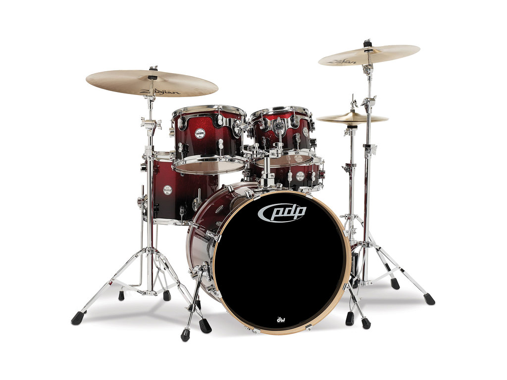 "Drumstel PDP Concept Maple CM5 22"" Red to Black Sparkle Fade, 22"", 10"", 12"", 16"", 14"""