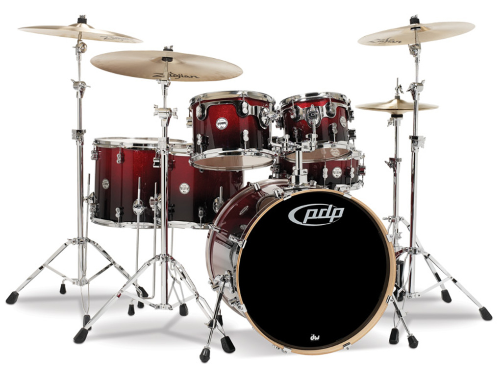 "Drumstel PDP Concept Maple CM6 22"" Red to Black Sparkle Fade, 22"", 10"", 12"", 14"", 16"", 14"""