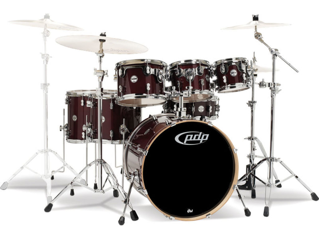 "Drumstel PDP Concept Maple CM7 22"" Transparent Cherry, 22"", 8"", 10"", 12"", 14"", 16"", 14"""
