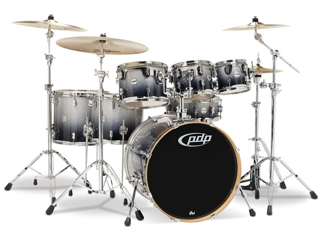 "Drumstel PDP Concept Maple CM7 22"" Silver to Black Sparkle Fade, 22"", 8"", 10"", 12"", 14"", 16"", 14"""