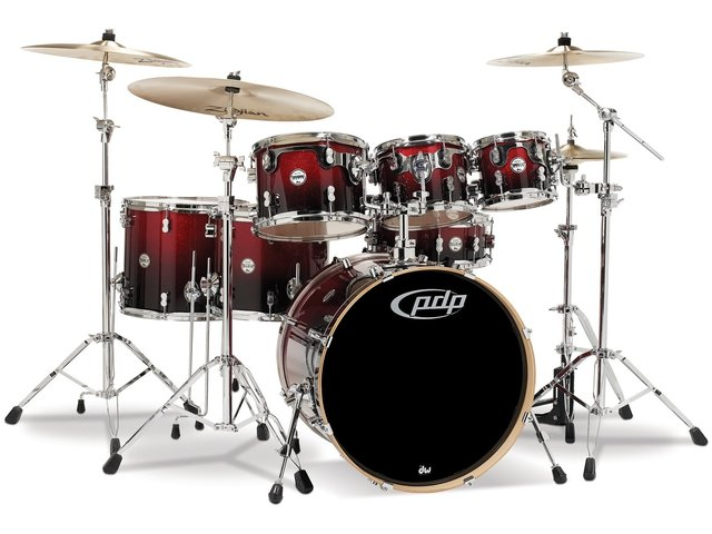 "Drumstel PDP Concept Maple CM7 22"" Red to Black Sparkle Fade, 22"", 8"", 10"", 12"", 14"", 16"", 14"""