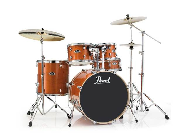 "Drumstel Pearl Export Lacquer EXL725S/C249 Honey Amber, 22"", 10"", 12"", 16"", 14"", studio set, inclusief hardware"