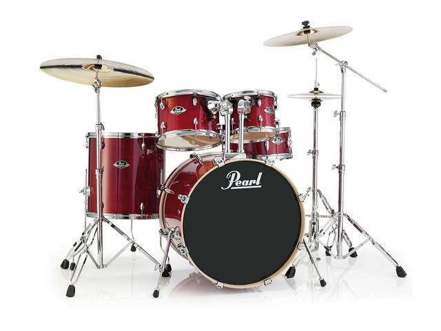 "Drumset Pearl Export Lacquer EXL725F/C246 Natural Cherry, 22"", 10"", 12"", 14"", 14"", studio set including hardware"