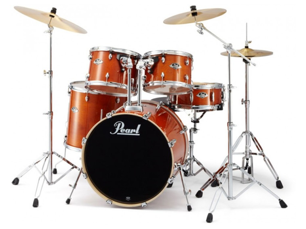 "Drumstel Pearl Export Lacquer EXL725/C249 Honey Amber, 22"", 12"", 13"", 16"", 14"", studio set, inclusief hardware"
