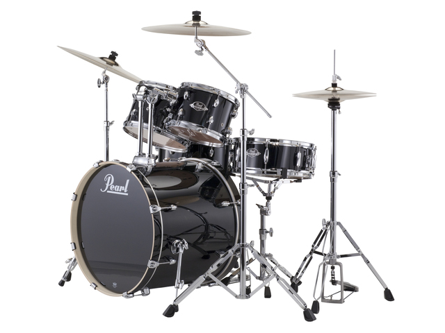 "Drumset Pearl Export EXX705NBR/C31 Jet Black, 20"", 10"", 12"", 14"", 14"", studio set, including hardware and Cymbals"