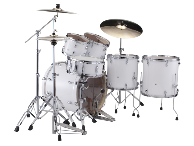 "Drumset Pearl Export EXX705NBR/C33 Pure White, 20"", 10"", 12"", 14"", 14"", studio set including hardware and Cymbals"