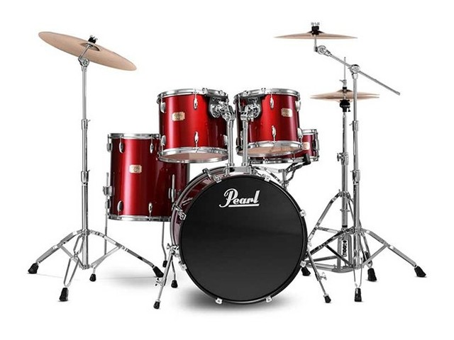 "Drumstel Pearl Export EXX705NBR/C91 Red Wine, 20"", 10"", 12"", 14"", 14"" studio set inclusief hardware en Cymbals"