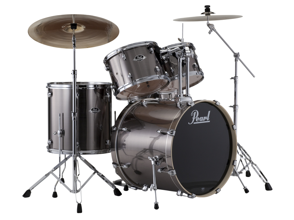 "Drumstel Pearl Export EXX725SBR/C21 Smokey Chrome, 22"", 10"", 12"", 16"", 14"", Rock set inclusief hardware en Cymbals"