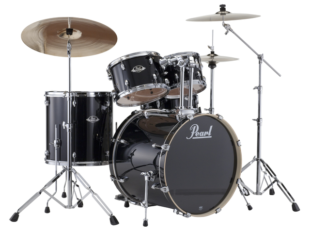 "Drumset Pearl Export EXX725SBR/C31 Jet Black, 22"", 10"", 12"", 16"", 14"", Rock set including hardware and Cymbals"