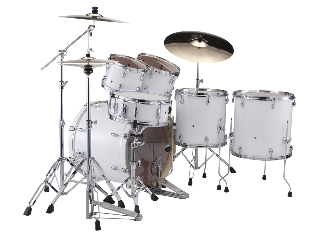 "Drumstel Pearl Export EXX725SBR/C33 Pure White, 22"", 10"", 12"", 16"", 14"", Rock set inclusief hardware en Cymbals"