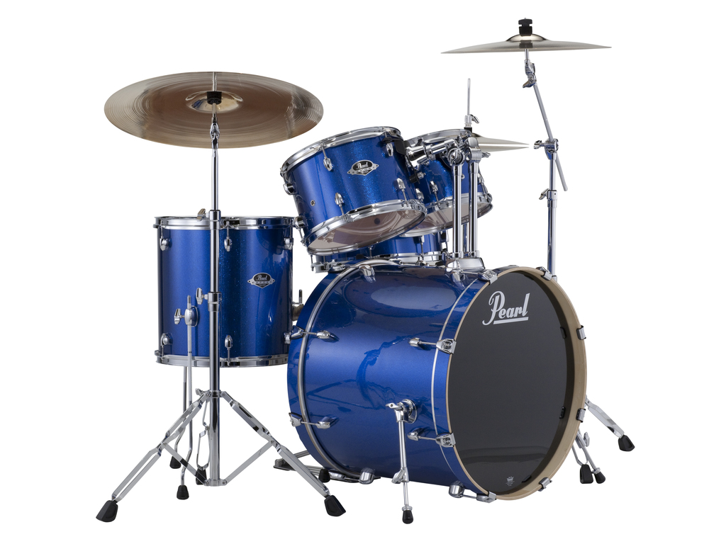 "Drumstel Pearl Export EXX725SBR/C702 Electric Blue, 22"", 10"", 12"", 16"", 14"", Rock set inclusief hardware en Cymbals"