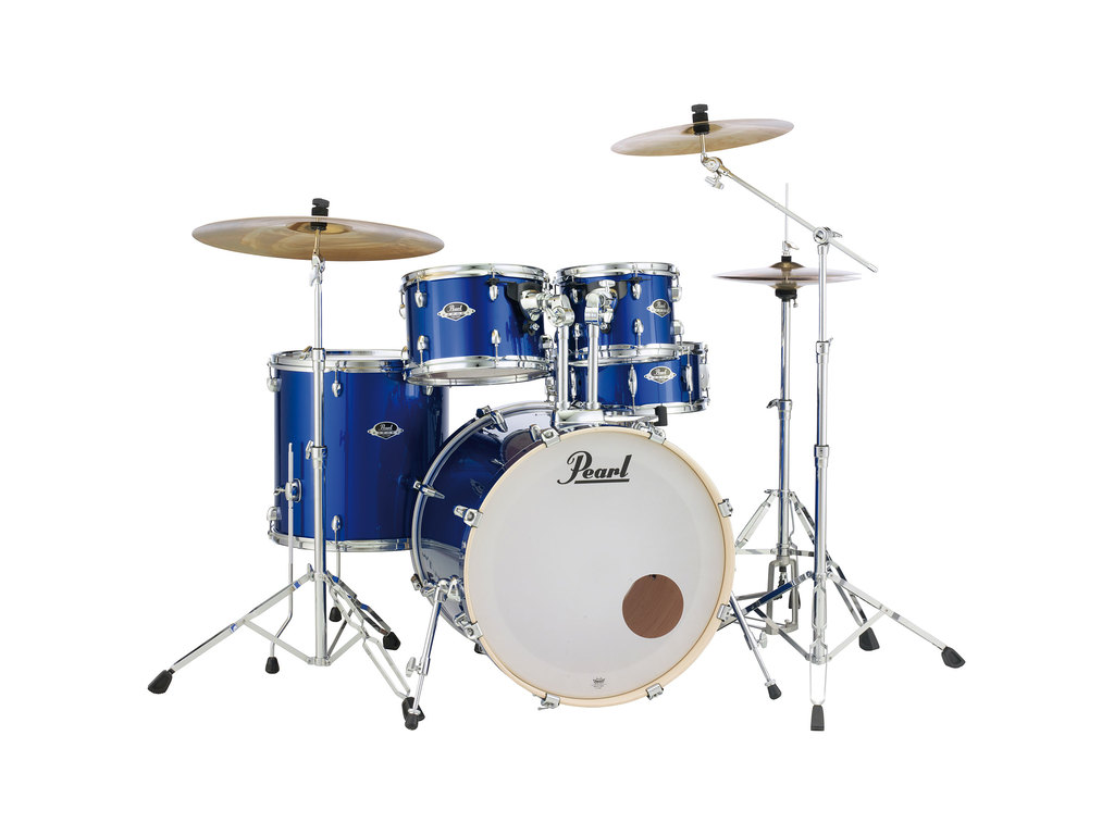 "Drumstel Pearl Export EXX725FBR/C717 High Voltage Blue, 22"", 10"", 12"", 14"", 14"", Studio set inclusief hardware en Cymbals"