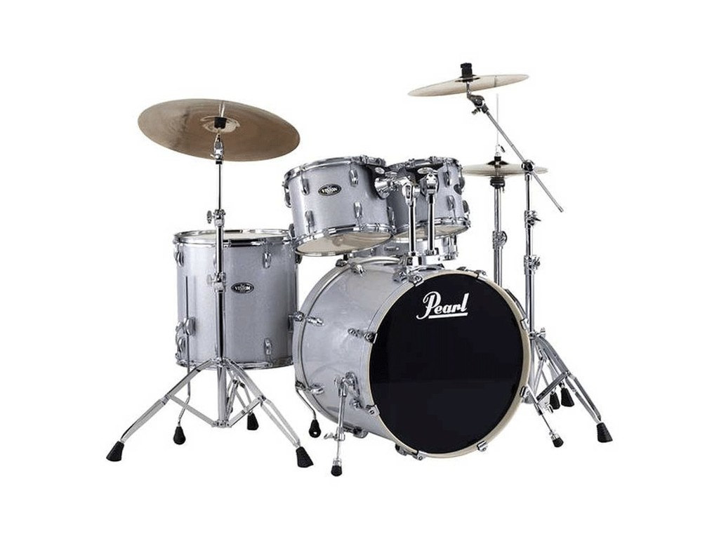 "Drumset Pearl Export EXX725FBR/C700 Arctic Sparkle, 22"", 10"", 12"", 14"", 14"", Studio set including hardware and Cymbals"