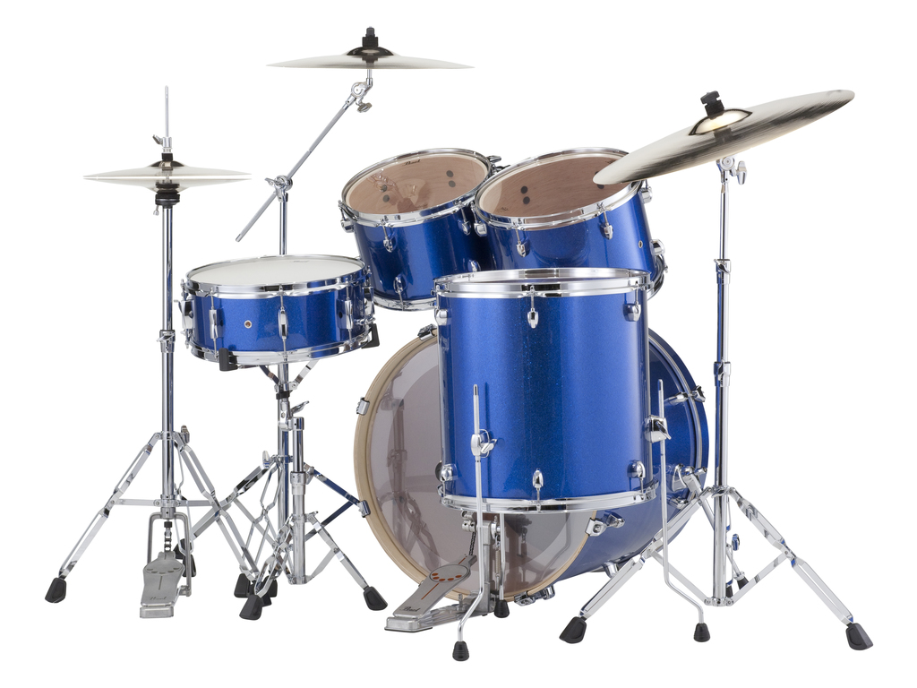 "Drumstel Pearl Export EXX725FBR/C702 Electric Blue, 22"", 10"", 12"", 14"", 14"", Studio set inclusief hardware en Cymbals"