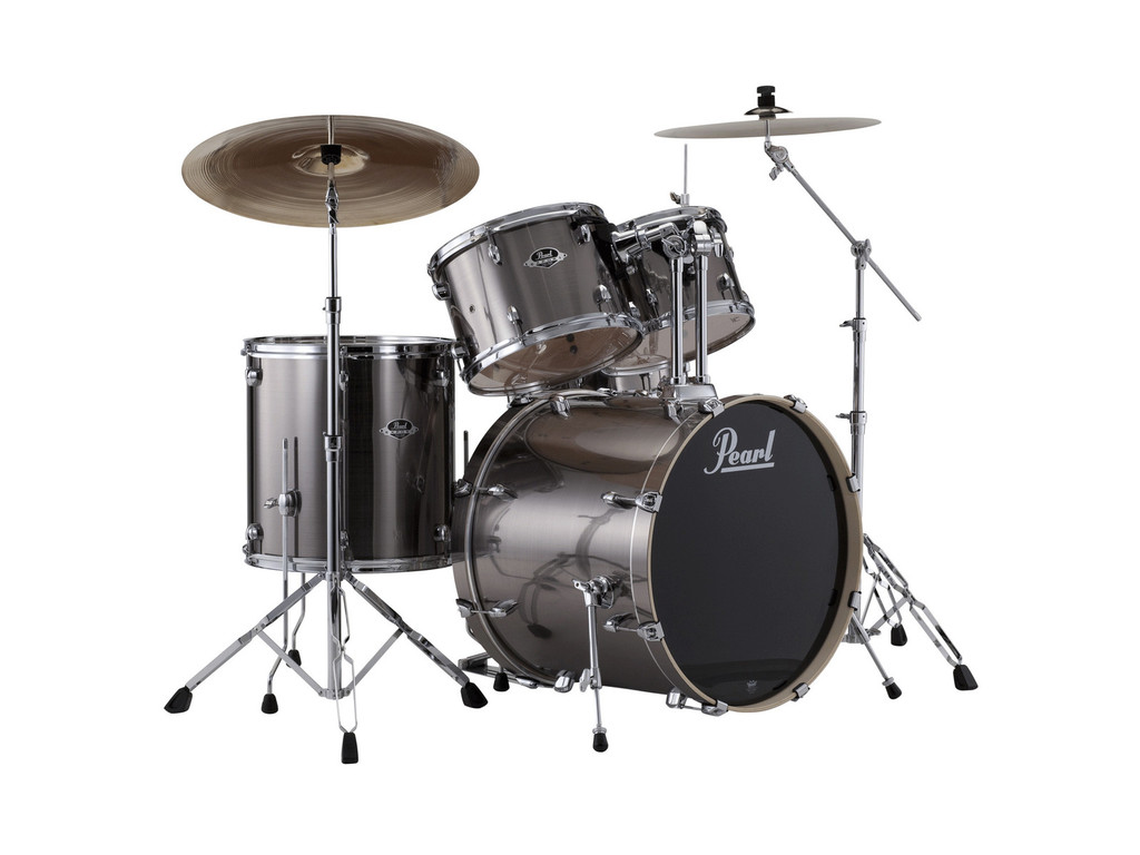 "Drumstel Pearl Export EXX725BR/C21 Smokey Chrome, 22"", 12"", 13"", 16"", 14"", inclusief hardware en Cymbals"