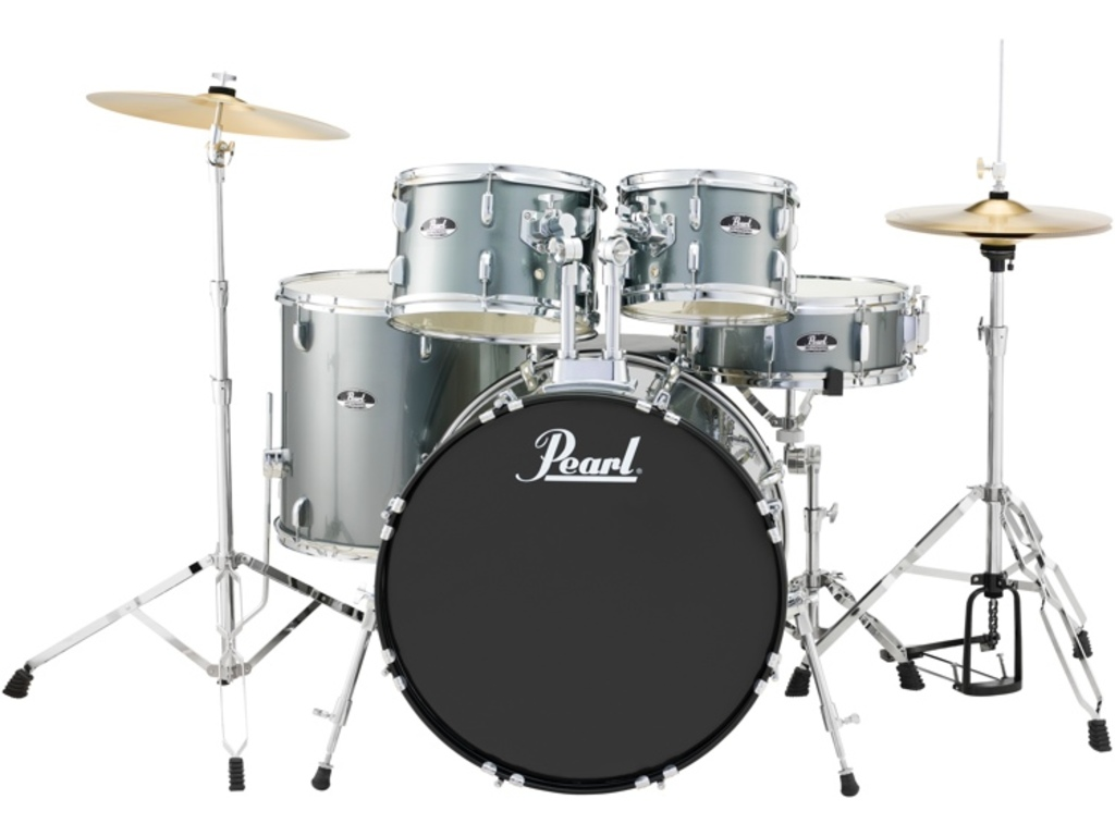 "Drumstel Pearl Roadshow RS505C/C706 Charcoal Metallic, 20"", 10"", 12"", 14"", 14"", set inclusief hardware en Cymbals"