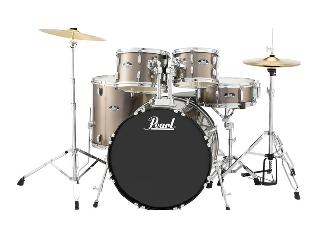 "Drumstel Pearl Roadshow RS505C/C707 Bronze Metallic, 20"", 10"", 12"", 14"", 14"", set inclusief hardware en Cymbals"