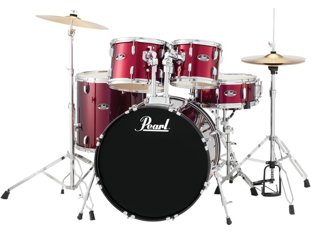 "Drumstel Pearl Roadshow RS585C/C91 Red Wine, 18"", 10"", 12"", 14"", 13"", set inclusief hardware en Cymbals"