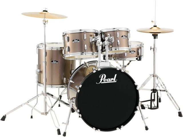 "Drumstel Pearl Roadshow RS585C/C707 Bronze Metallic, 18"", 10"", 12"", 14"", 13"", set inclusief hardware en Cymbals"