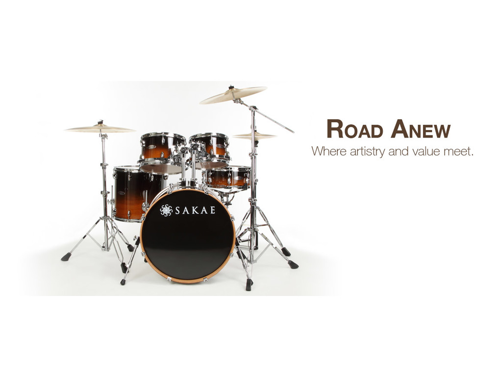 "Drumstel Sakae Road Anew Tabacco Fade, 22"", 10"", 12"", 16"", 14"", inclusief hardware"