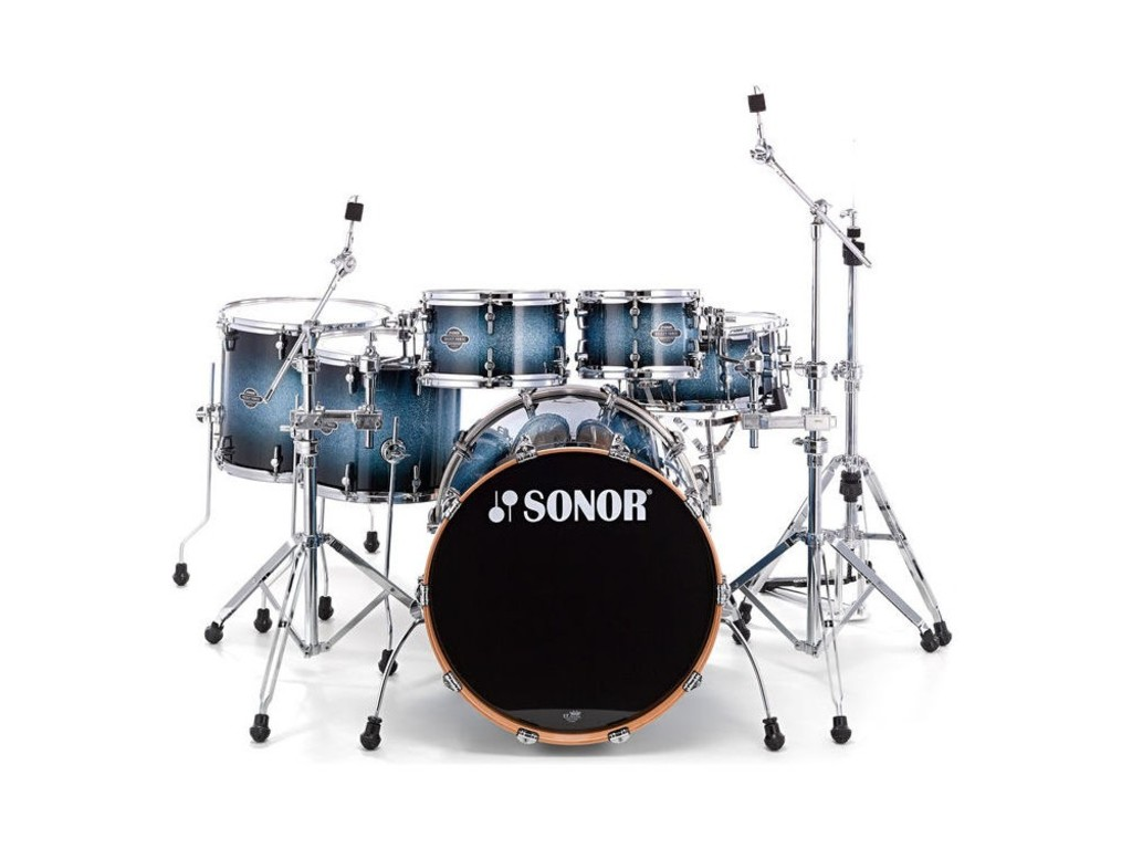 "Drumstel Sonor Select Force Serie SEF 11 Stage S Drive NM Blue Galaxy Sparkle, 22"", 10"", 12"", 14"", 16"", 14"""