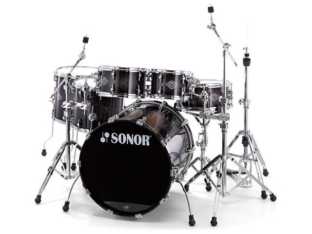 "Drumstel Sonor Select Force Serie SEF 11 Stage S Drive NM Transparant Black Burst, 22"", 10"", 12"", 14"", 16"", 14"""