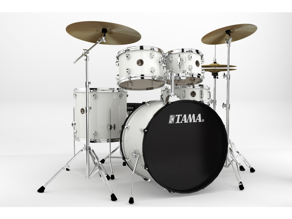 "Drumstel Tama Rhythm Mate RM52KH6-WH White, 22"", 10"", 12"", 16"", 14"", inclusief hardware, extra kruk en boomstand"