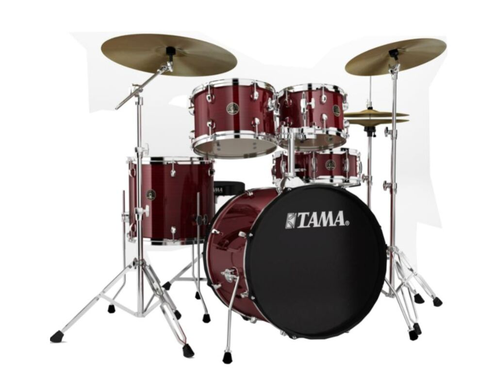"Drumstel Tama Rhythm Mate RM50YH6-RDS Red Stream, 20"", 10"", 12"", 14"", 14"", inclusief hardware, extra kruk en boomstand"