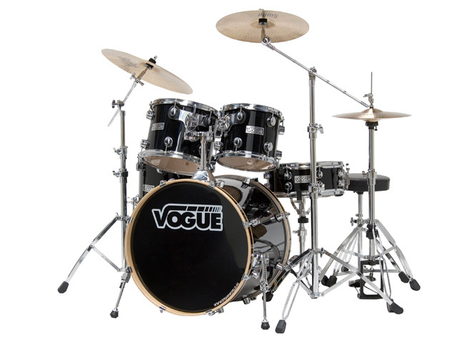 "Drumset Vogue Studio set, Black, 20"", 10"", 12"", 14"", 14"", including Stool and Swad cymbalsset"